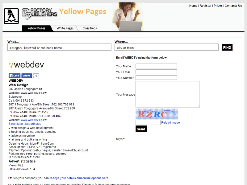 Yellow Pages Advertising | Webdev  Zimbabwe web hosting, domains